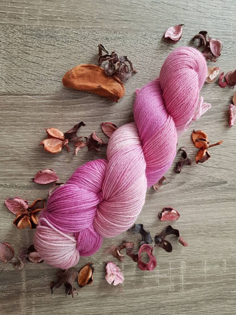 hand dyed pink yarn pink wool floral yarn Tulip Magnolias image 0
