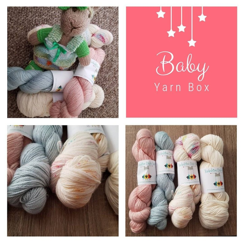 Baby Yarn Box hand dyed yarn plus extra goodies for baby image 0
