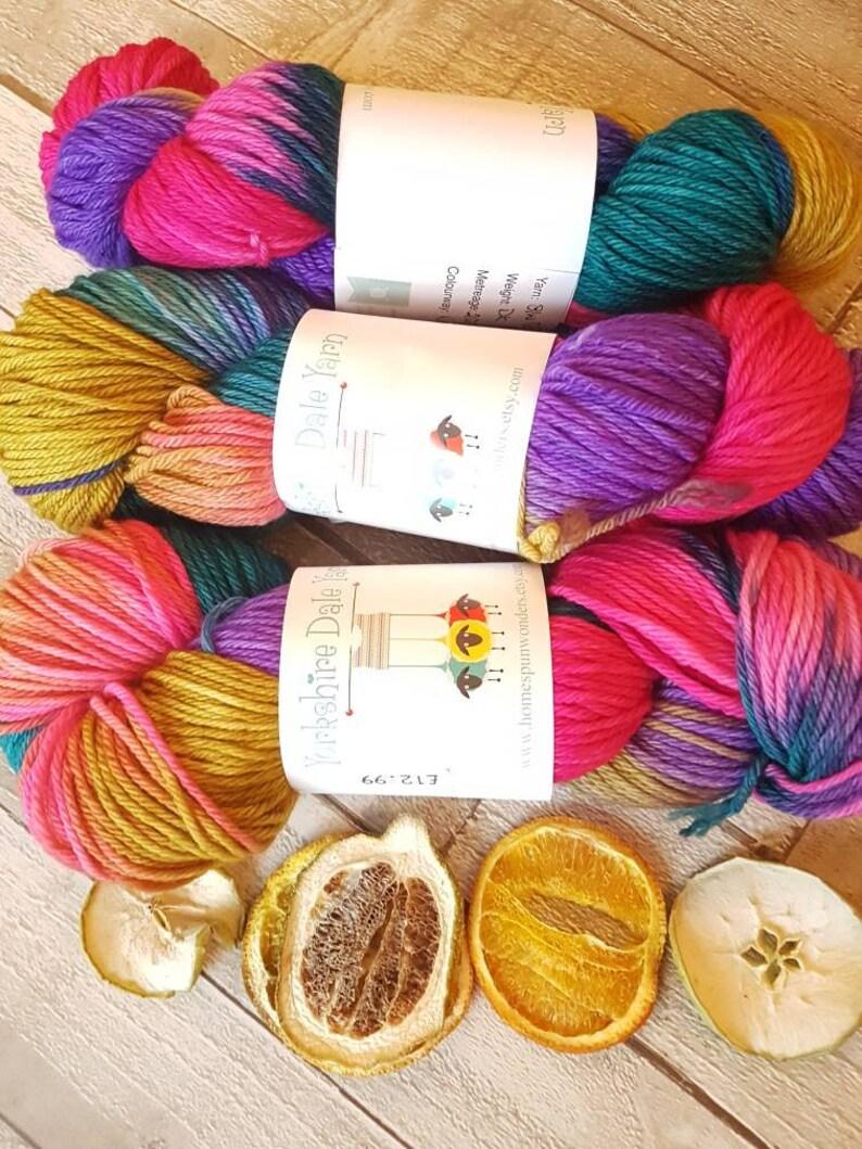 Double Knit yarn Hand dyed yarn Yorkshire Dale Yarn lace yarn Welldressing Colourway made in UK indie yarn variegated yarn 4ply yarn