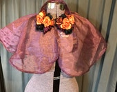 Vampire Evening Cape Wine Sheer with Handmade Satin Rose Clusters One Size