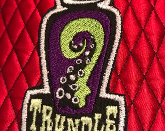 Trundle Manor Embroidered Patch Tentacle Jar Logo on Canvas or Velvet