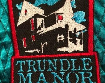 Trundle Manor Embroidered Patch House Logo Classic on Black Canvas or Velvet