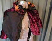 REVERSIBLE Vampire Evening Capelet Wine and Black with Handmade Satin Roses One Size