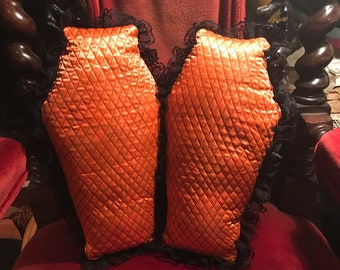Set of 2 Vampire Boudoir Quilted Satin Coffin Pillow Halloween Orange