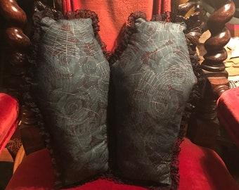 Set of 2 Coffin Pillows Blue Rose Spiderweb Print