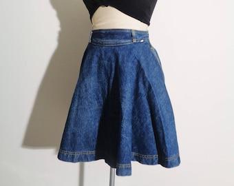 Vtg 80s GUESS Jean SWING Circle Skirt! Small