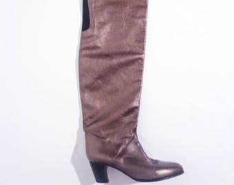 Super Cool OVER the KNEE Antique Bronze Boots! 6 B