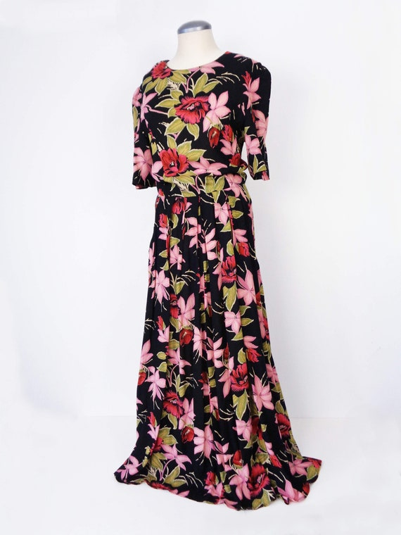 Vtg 80s DARK TROPICAL Print MAXI Dress! Medium, 8