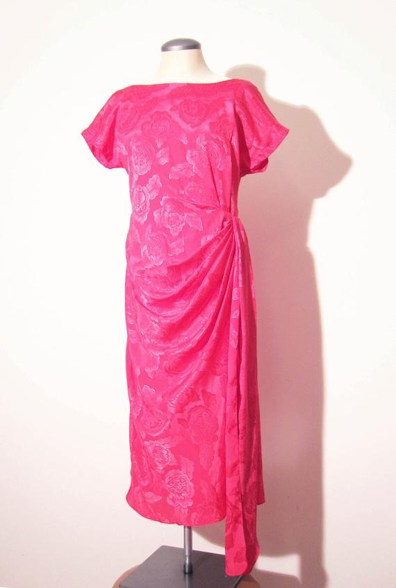 Vtg 80s HOT PINK JACQUARD Draped Dress, Small to M