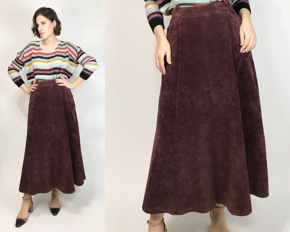 Vtg 80s Berry SUEDE Midi CIRCLE SKIRT! Large