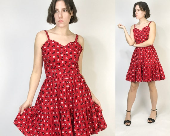 Vtg 90s does 40s RED BUTTERFLY Print Dress! Small