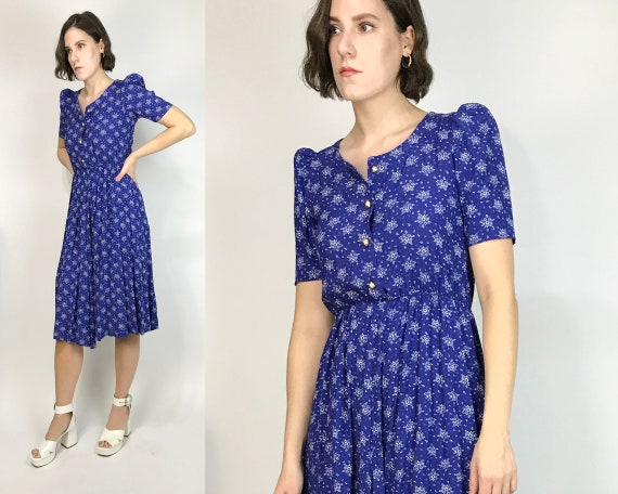 Vtg 80s CALICO Floral Fitted Dress w PUFF SLEEVES!