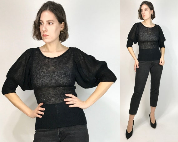 Vtg 90s OPEN KNIT Sheer Sweater with PUFF Sleeves!