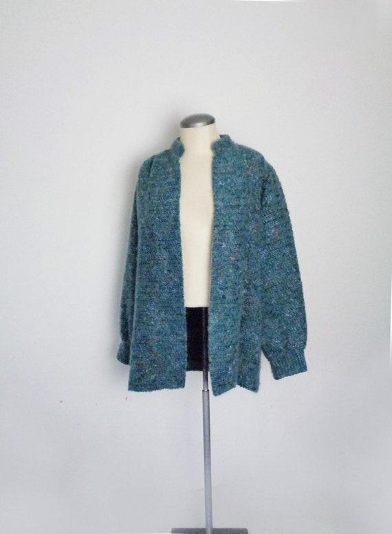 Vtg 80s Open Knit FUZZY MOHAIR TEAL Cardigan Blaze