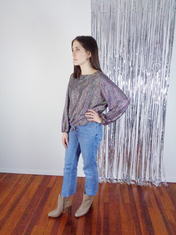 Vtg 70s SPARKLY DISCO Drawstring Top! Medium