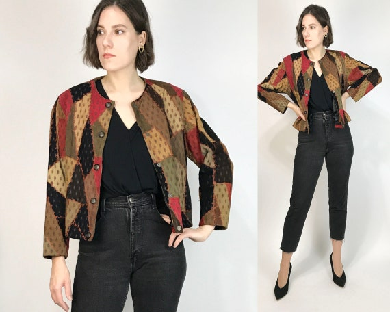 Vtg 90s PATCHWORK Leather CROPPED Jacket! Small