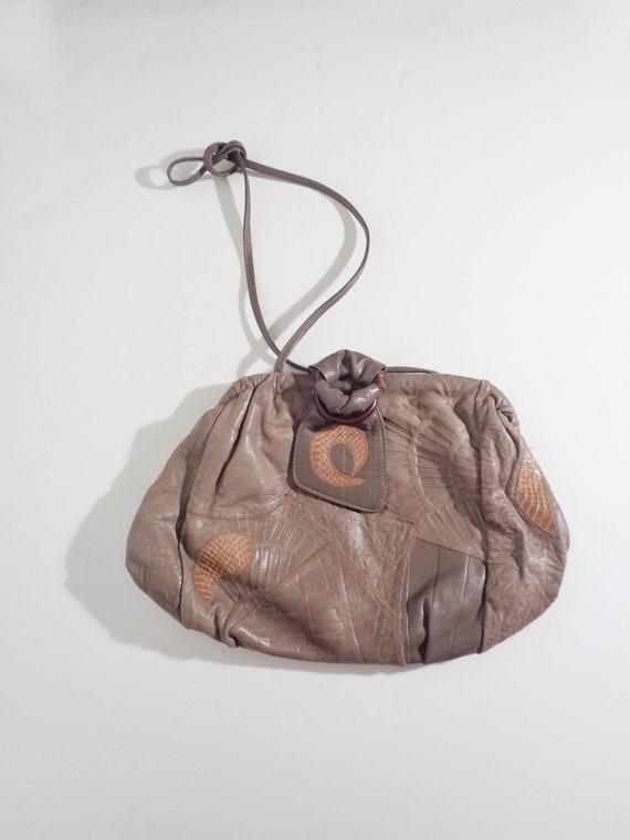 Vtg 80s LEATHER PATCHWORK Avant Garde Bag!