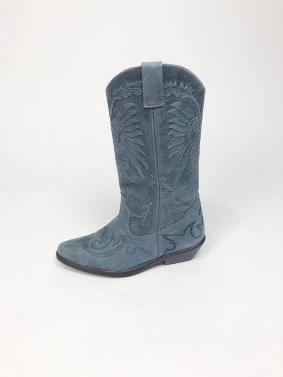 Vtg NUBUCK LEATHER Embossed Gray Blue COWBOY Boots