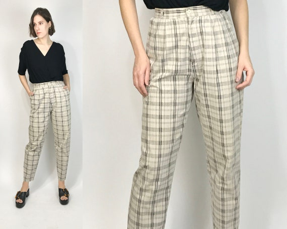 Vtg 1987 High Waist MUTED PLAID Trousers! Size 6 t