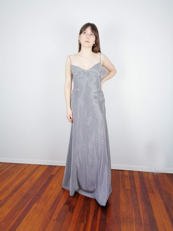 90s GINGHAM Structured GOWN w Low Back!