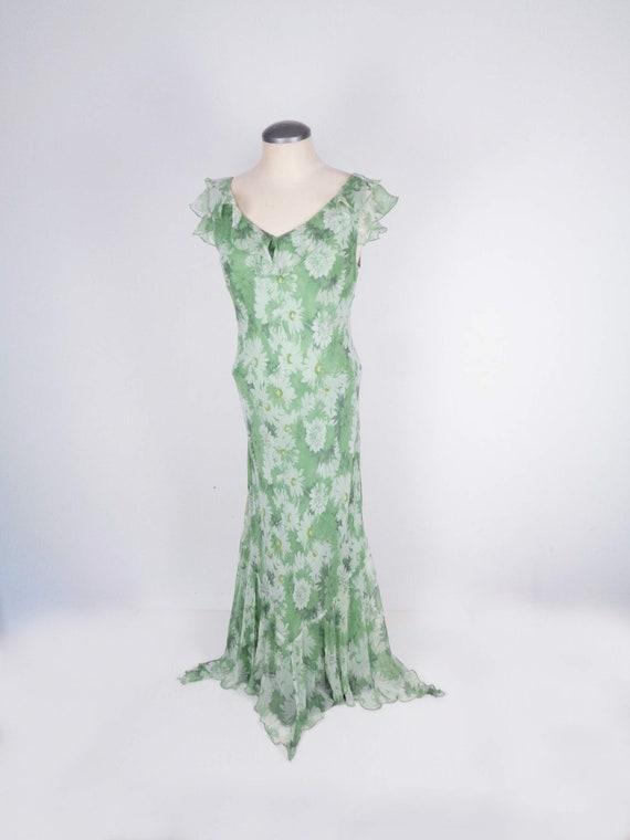 Vtg 90s Does 30s SILK FLORAL BEADED Dress! Medium,