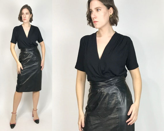 Vtg 80s LEATHER Pencil Skirt with V-PANEL Pleated