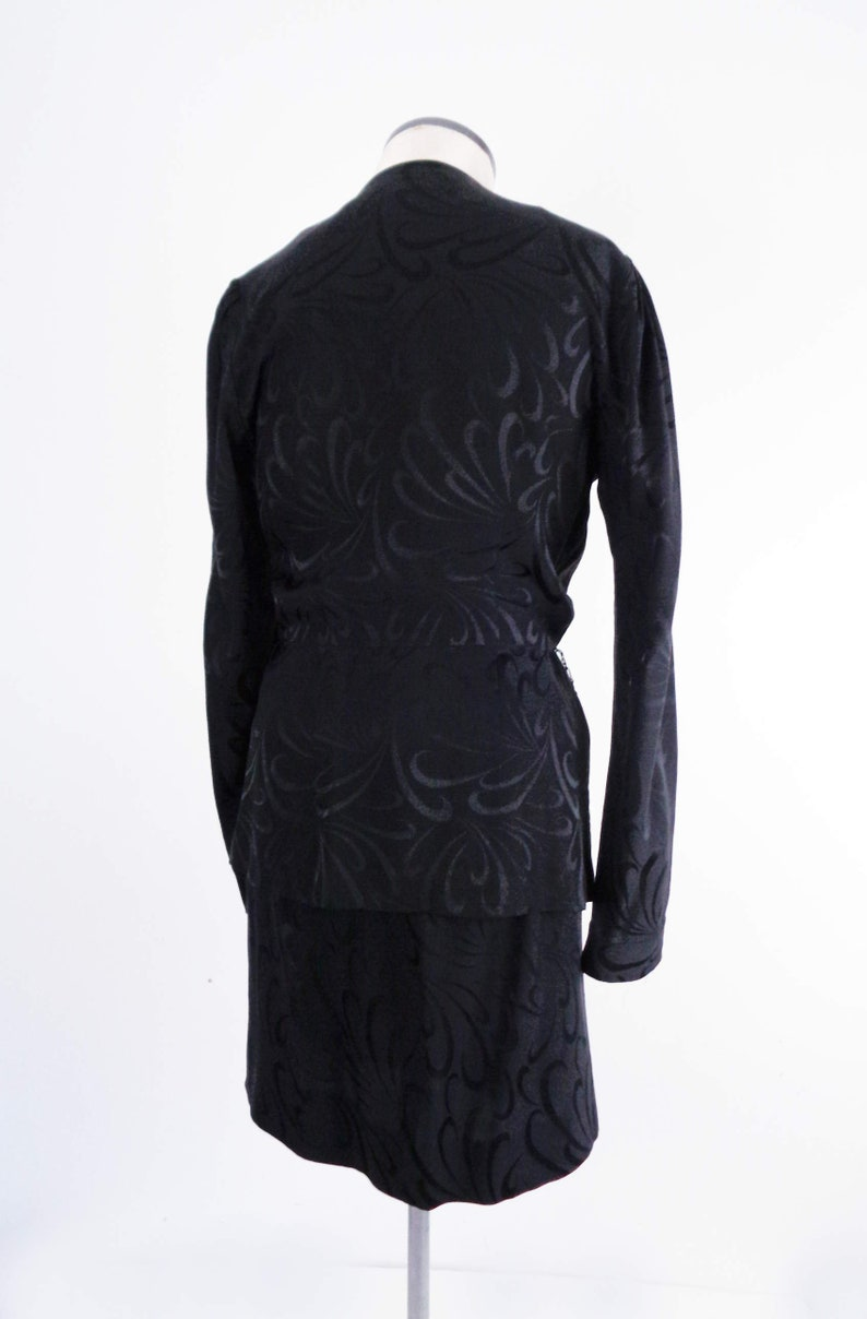 Vtg 90s Black SILK PEPLUM Skirt /& Top by Liz Claiborne Small