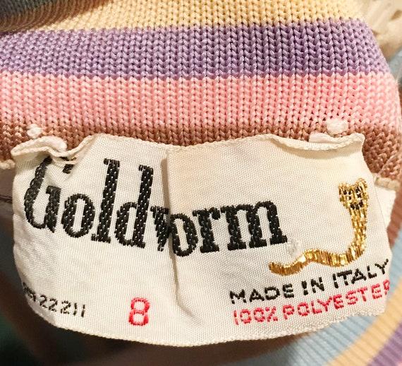 Vtg 60s AMAZING Designer GOLDWORM Pastel KNIT Dre… - image 10