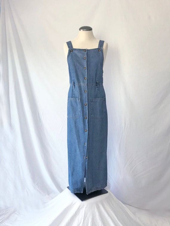 Vtg 90s DENIM OVERALLS Dress! Medium to Large