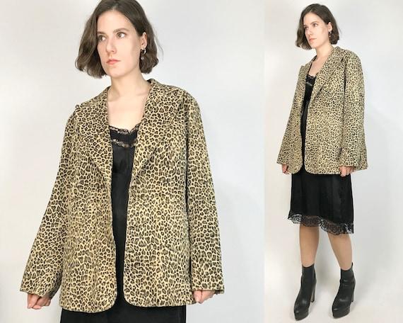 Vtg 90s MINIMAL SUEDE LEOPARD Print Jacket! Large