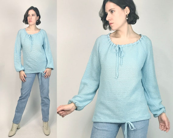 Vtg 70s BABY BLUE Crochet Sweater with POET Sleeve