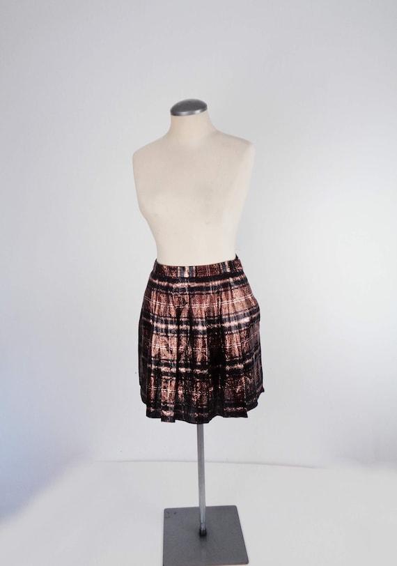 Vtg 80s METALLIC PLAID Mini Skirt! Small