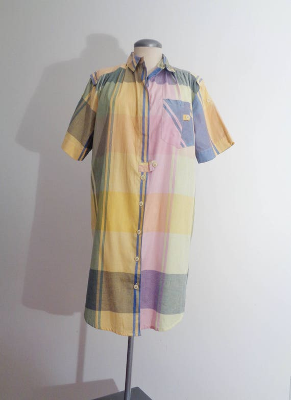 Vtg 80s ARTY PASTEL PLAID Shirt Dress! Medium to L