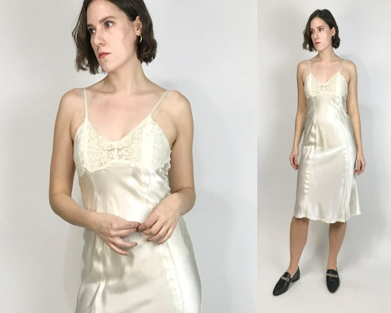 Vtg 40s SATIN SLIP Dress with LACE Top! Small