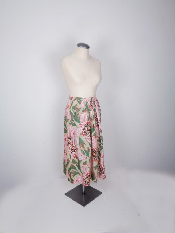 Vtg 80s TROPICAL Print Skirt! XS
