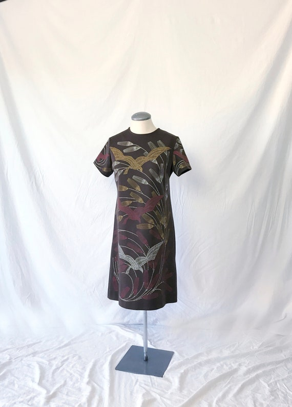 Vtg 60s Knit T-Shirt Dress w CRANE & REED Print! M