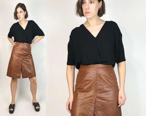 Vtg 90s A-LINE Chestnut High Waist LEATHER Skirt!