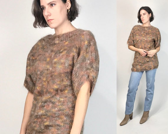 Vtg 80s ABSTRACT MOHAIR AUTUMN Tones Knit Sweater!