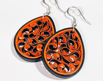 Bright Orange Paper Quilling Honeycomb Earrings | First Paper Anniversary Handmade Gift | Earrings for Sensitive Ears | Spring Jewelry