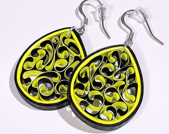 Bright Yellow Paper Quilling Honeycomb Earrings | First Paper Anniversary Gift for Her | Stainless Steel for Sensitive Ears | Spring Fashion