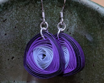Quilled Paper Vortex Earrings Purple | Unique Handmade Paper Earring | First Wedding Anniversary Gift | Paper Jewelry | Gift for Her