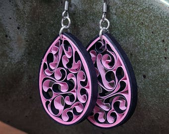 Paper Quilled Honeycomb Black & Pink Earrings | First Paper Anniversary Gift for Her | Paper Light Weight Quilling Jewelry | Hypo-Allergenic