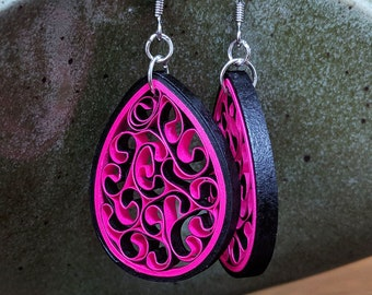 Hot Pink Paper Quilling Honeycomb Earrings | First Paper Anniversary Handmade Gift | Earrings for Sensitive Ears | Spring Jewelry Fashion