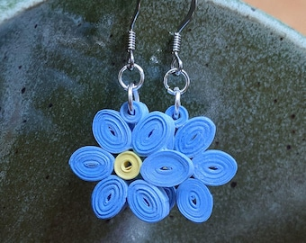 Forget Me Not Blue Paper Quilling Earrings | First Paper Anniversary Gift for Her | Stainless Steel Hypoallergenic for Sensitive Ears