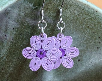 Purple Flower Paper Quilling Earrings | First Paper Anniversary Gift for Her | Stainless Steel Hypoallergenic for Sensitive Ears