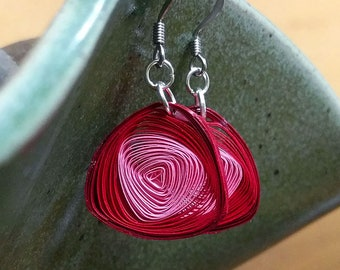 Quilled Paper Vortex Earrings Red & Pink | Unique Handmade Paper Earring | First Wedding Anniversary Gift | Paper Jewelry | Gift for Her