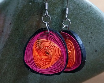 Quilled Paper Vortex Earrings Pink & Orange | Unique Handmade Paper Earring | First Wedding Anniversary Gift | Paper Jewelry | Gift for Her