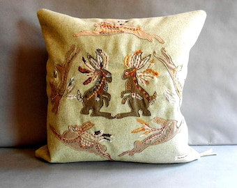 "Chieftains and Hares 17""x17"" Hand Embroidered Wool Pillow with Feather Down Insert"
