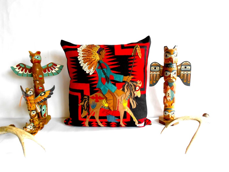 Walking Rock American Heritage X Portland Woolen Mill Throw Pillow featuring Native American Indian Chief on his War Pony