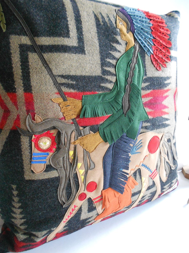 Harding American Heritage X Portland Woolen Mill Throw Pillow featuring Native American Indian Chief on his War Pony